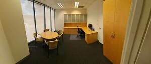 Office Suite with Desk/Shelving Unit, Table   4 Chairs and Cupboard.
