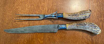 Antique Hibbard Spencer Bartlett Knife Set OVB Our Very Best Horn & Sterling