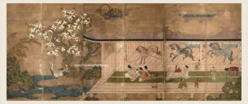 Japanese old screen painting Big Size Horse in stable Samurai enjoy amusement 1