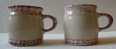 SET of 2 - Henn Pottery Country Red Trim Coffee Cup Mug Roseville Sponge Ware
