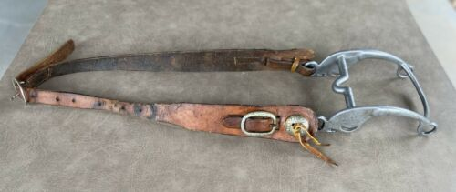Vintage Leather Horse Headstall with Engraved Bit