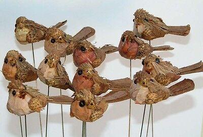 12´er Set trendy Natur Vogelsteker 5 x 3 cm top zum verarbeiten Preishit  x 4825