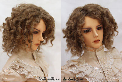 "1/3 bjd 8-9"" head synthetic mohair brown doll wig Iplehouse Soom dollfie luts"