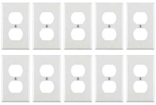 10x Outlet Cover Plate Duplex 2 Electrical White Resist scratching Crackin