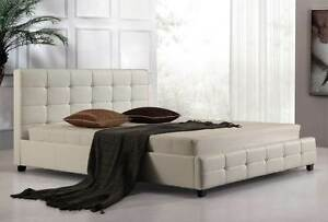 NEW ON SALE - King PU Leather Deluxe Bed Frame White Silverwater Auburn Area Preview