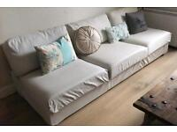 Large 4 Seater Sofa in Good Condition in Natural Beige