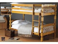 BRAND NEW- Solid Pine Wooden Bunk Bed with Mattress Options- SAME/NEXT DAY DELIVERY!