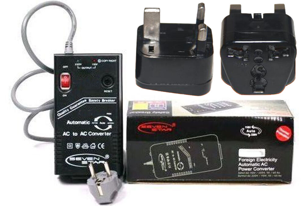 200 Watt Step Up Down Voltage Converter + Uk Ireland Plug...