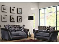 SHANOAN CORNER SOFA OR 3 AND 2 SEATER SOFA IN BLACK AND CHOCOLATE BROWN COLOUR