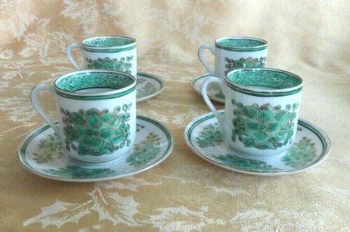 4 Sets Chinese Porcelain Demitasse Cups & Saucers QianlongNianZhi Mark
