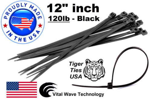 "500 Black 12"" inch Wire Cable Zip Ties Nylon Tie Wraps 120lb USA Made Tiger Ties"