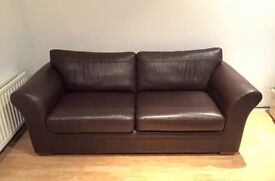 Large 3 seater brown leather Toulouse sofa from Next, excellent condition