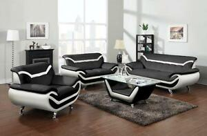 LORD SELKIRK FURNITURE -Adona 3Pc Couch Set Sofa, Loveseat, Chair in Leather Gel in Black and White Brand New - $1599.00