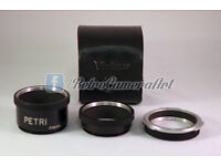 SALE! Set of Petri Bauonet Maount to M42 rings / adapters + case >RetroCameraArt<