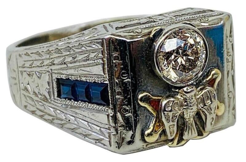 Estate Knights of Columbus 4th Degree 18K White Gold Diamond Sapphire Ring Sz 8