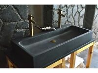 Double Basins Sink bathroom Wet Room Black Basalt Stone 1000mm LOOAN DARK