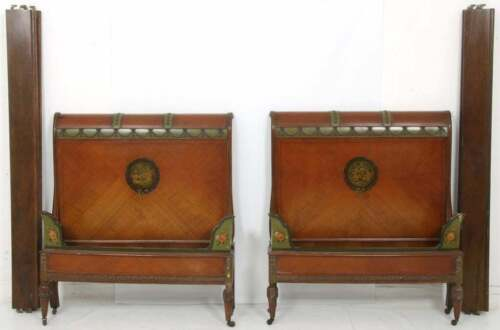 PAIR OF VINTAGE ANTIQUE ADAMS STYLE PAINT DECORATED TWIN BEDS