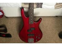 Red Ibanez Bass GSR200 with active pickups