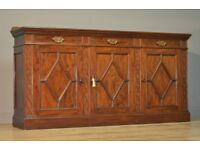 Attractive Large Shallow Depth Mahogany Sideboard, With Cupboards And Drawers