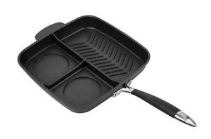 MASTERPAN NON-STICK 3 SECTION MEAL SKILLET, 11, BLACK