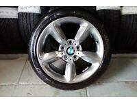 ALLOYS X 4 OF 17 INCH GENUINE BMW 1/SERIES FULLY POWDERCOATED INA STUNNING SHADOW/CHROME NICE ALLOYS