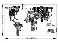 Huge Black World Map Wall Art Wall stickers living room reusable (BRAND NEW)