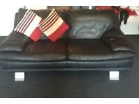 3 + 2 black leather sofa