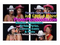 """Proper"" PHOTOBOOTH HIRE 3hrs just £299 with unlimited use & instant prints!"