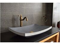 Grey Granite Stone Bathroom Basin Sink 600mm BALI