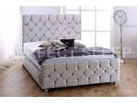 "***BLACK/BEIGE/SILVER*** BRAND NEW 4FT6 DOUBLE CRUSHED VELVET BED WITH 10"" THICK ORTHOPEDIC MATTRESS"