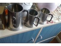 silver tankards x 3