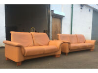 3+2 Ekornes Stressless Royalin orange tan leather recliner sofas DELIVERY AVAILABLE
