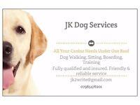 JK Dog Services. Walking. Sitting. Boarding. Training