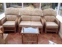 Conservatory Suite - Wicker Type with ivory cushions and including coffee table
