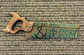 Vintage 1940's Saw. Retro Hand Painted Military Sign