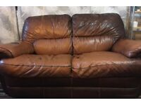 Brown colour 2 seater and 3 seater sofa for sale reasonably good condition £40 for both of them