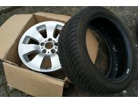 """Genuine 17"""" BMW Alloy wheel Double Spoke 158 with unfitted Run Flat Good Year Winter Tyre"""