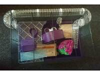 Hamster wire cage with accessories