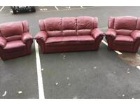 3 Seater Leather Sofa and 2 Chhairs