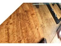 Housing Units extending glass dining table with 6 leather chairs