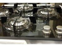 NEW HOTPOINT GDB640SK 4 BURNER BLACK GLASS GAS HOB