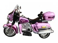12 volt twin speed electric ride on Harley Davidson Cruiser in pink