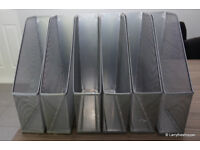 6 x Metal Silver Grey Magazine Paper File Holders Racks (Desktop or can be Wall Mounted)