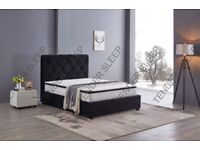 BLACK & GREY COLORS BRAND NEW BAKERSFIELD VELVET FABRIC DOUBLE BED FRAME - CALL NOW