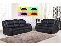 LUXUARY ANYA REAL BONDED LEATHER RECLINER SOFA SUITE ..IN BROWN AND BLACK COLOUR .WAS £899 NOW £599