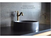 Round Stone Bathroom Basin sink - Black basalt 400mm RONDO DARK