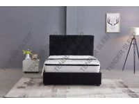 🌷💚🌷BLACK & GREY COLORS 🌷💚🌷BRAND NEW BAKERSFIELD VELVET FABRIC DOUBLE BED FRAME - CALL NOW