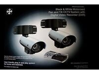 black and white motorised pand and tilt cctv system with dvr