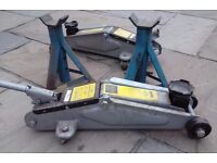 Two 2-ton trolley jacks + 2 axle stands (all used)