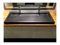 Double Bathroom Basin Sink 1200mm pure Black Granite YATÉ SHADOW